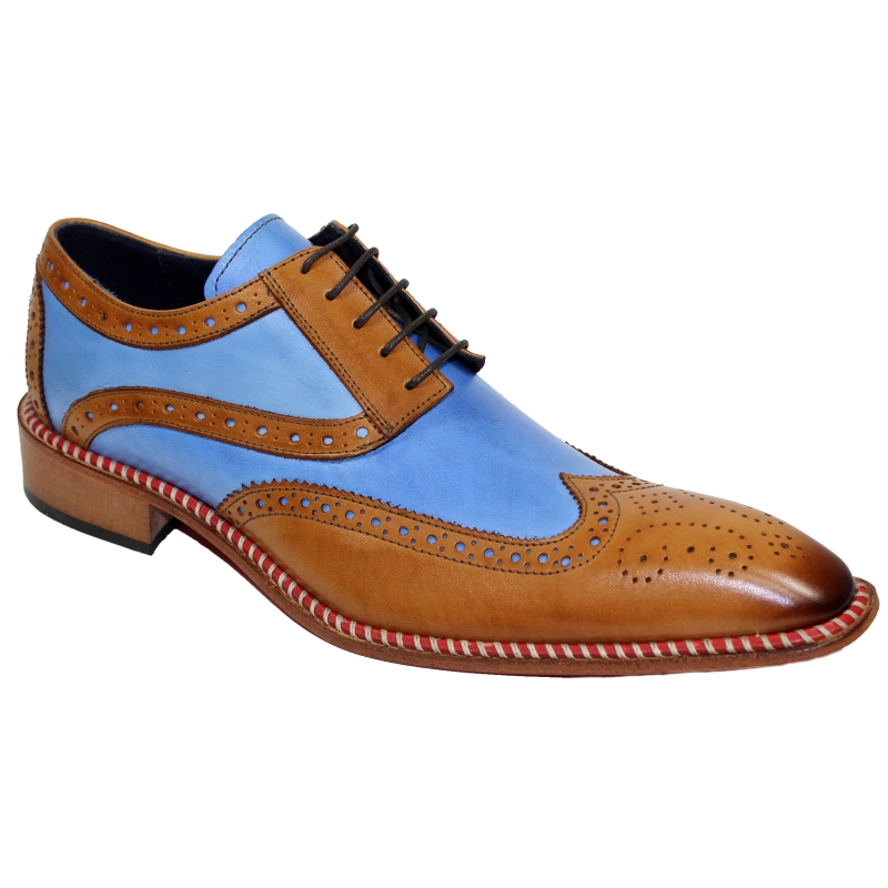 Duca by Matiste Napoli Wingtip Shoes Cognac / Blue Image