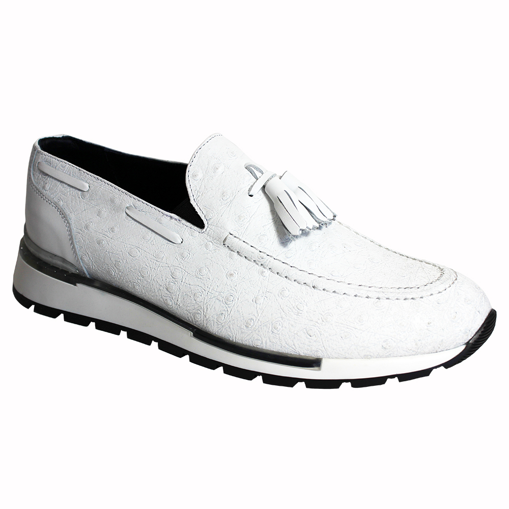 Duca by Matiste Pavia Ostrich Print Shoes White Image