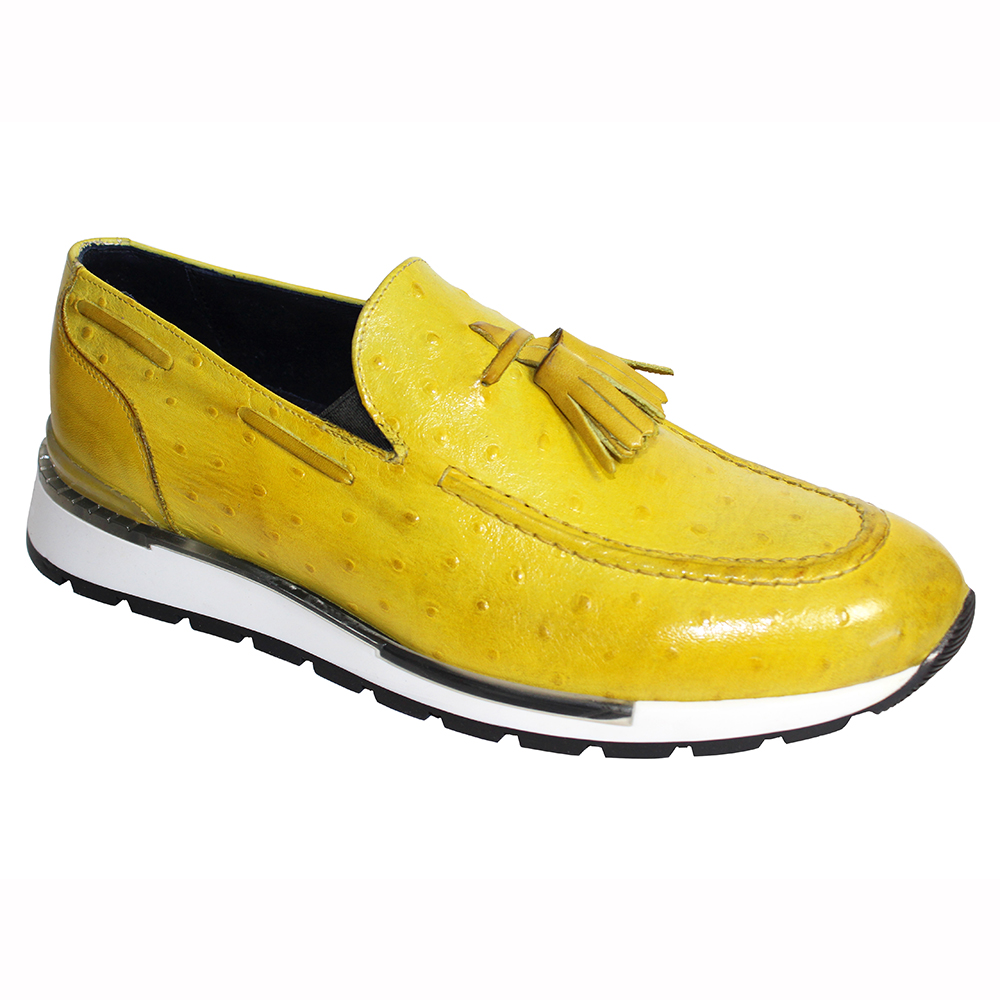 Duca by Matiste Pavia Ostrich Print Shoes Yellow Image