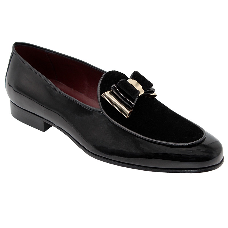 Duca by Matiste Scala Patent Velvet Shoes Black Gold Image