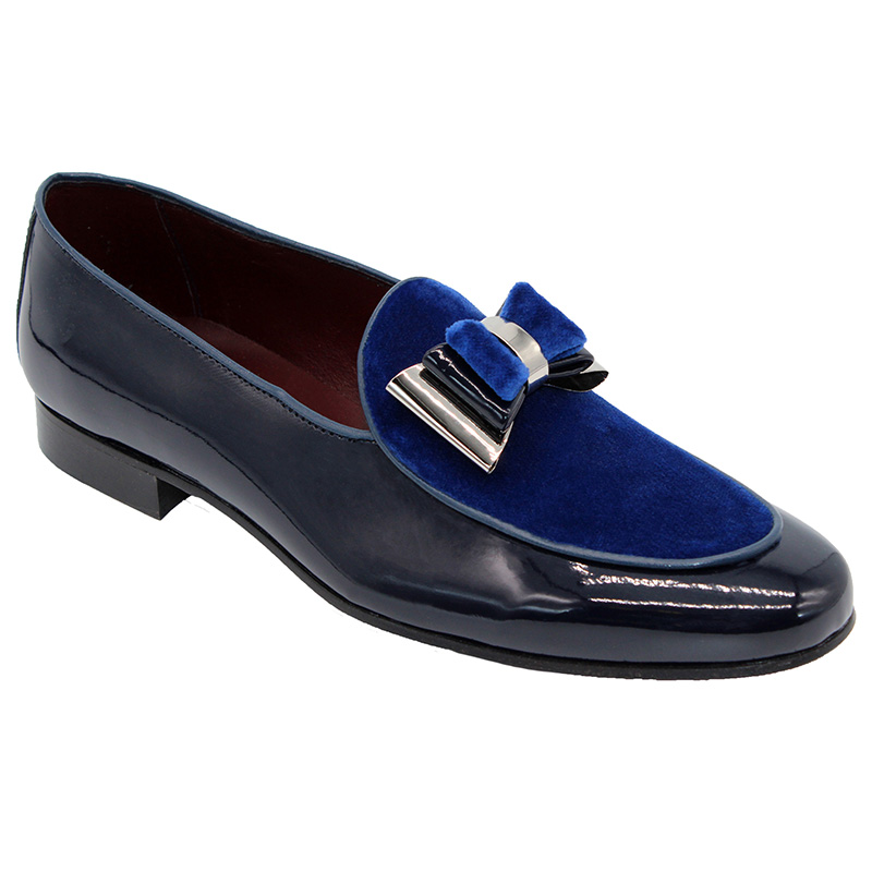 Duca by Matiste Scala Patent Velvet Shoes Blue Silver Image