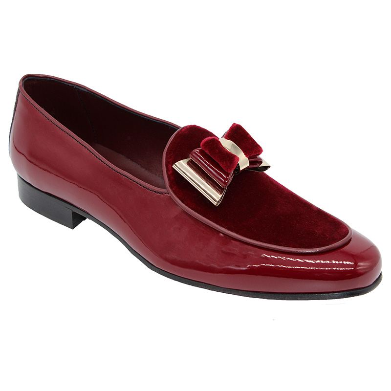 Duca by Matiste Scala Patent Velvet Shoes Burgundy Gold Image