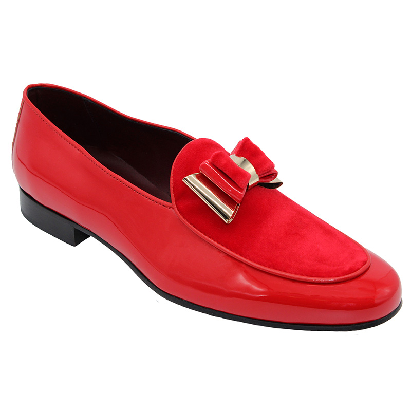 Duca by Matiste Scala Patent Velvet Shoes Red Gold Image