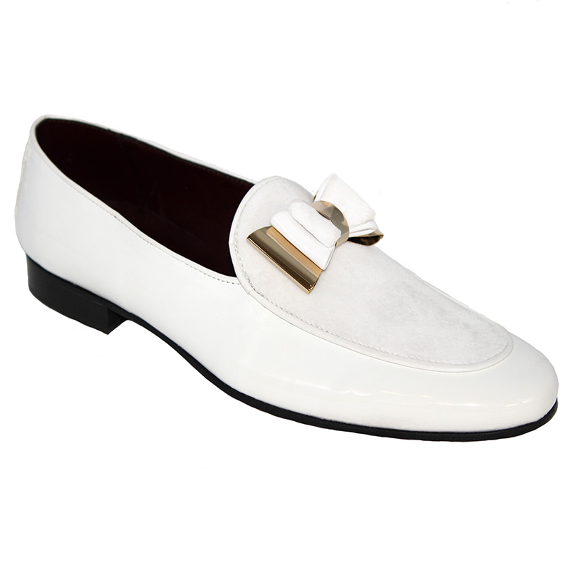 Duca by Matiste Scala Patent Velvet Shoes White Gold Image