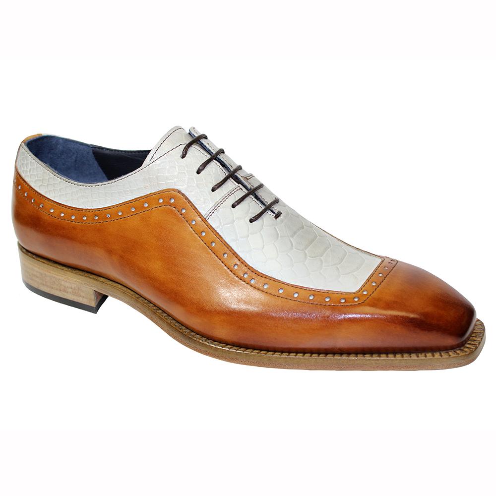 Duca by Matiste Tivoli Leather & Ana Print Shoes Cognac / Bone Image