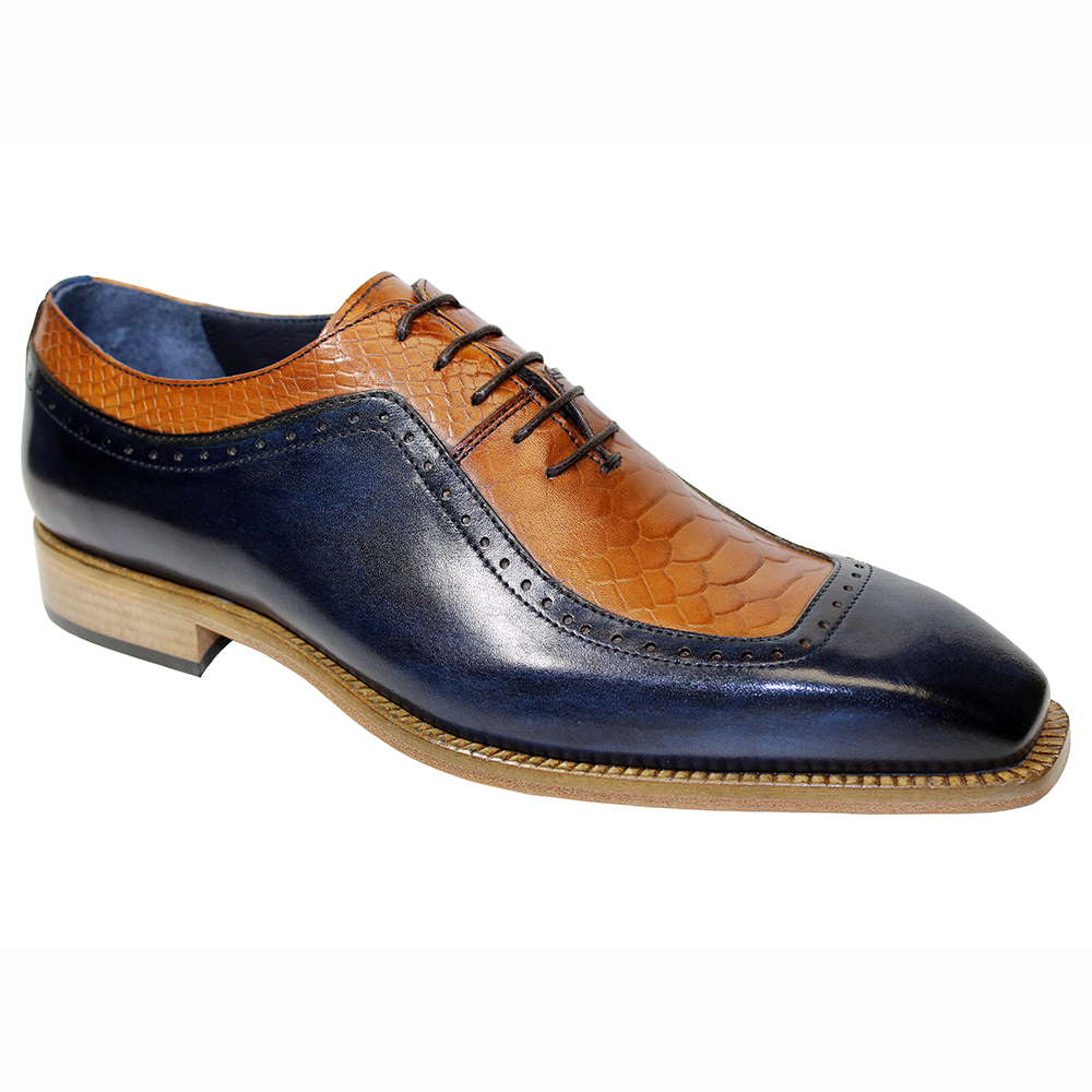 Duca by Matiste Tivoli Leather & Ana Print Shoes Navy / Cognac Image