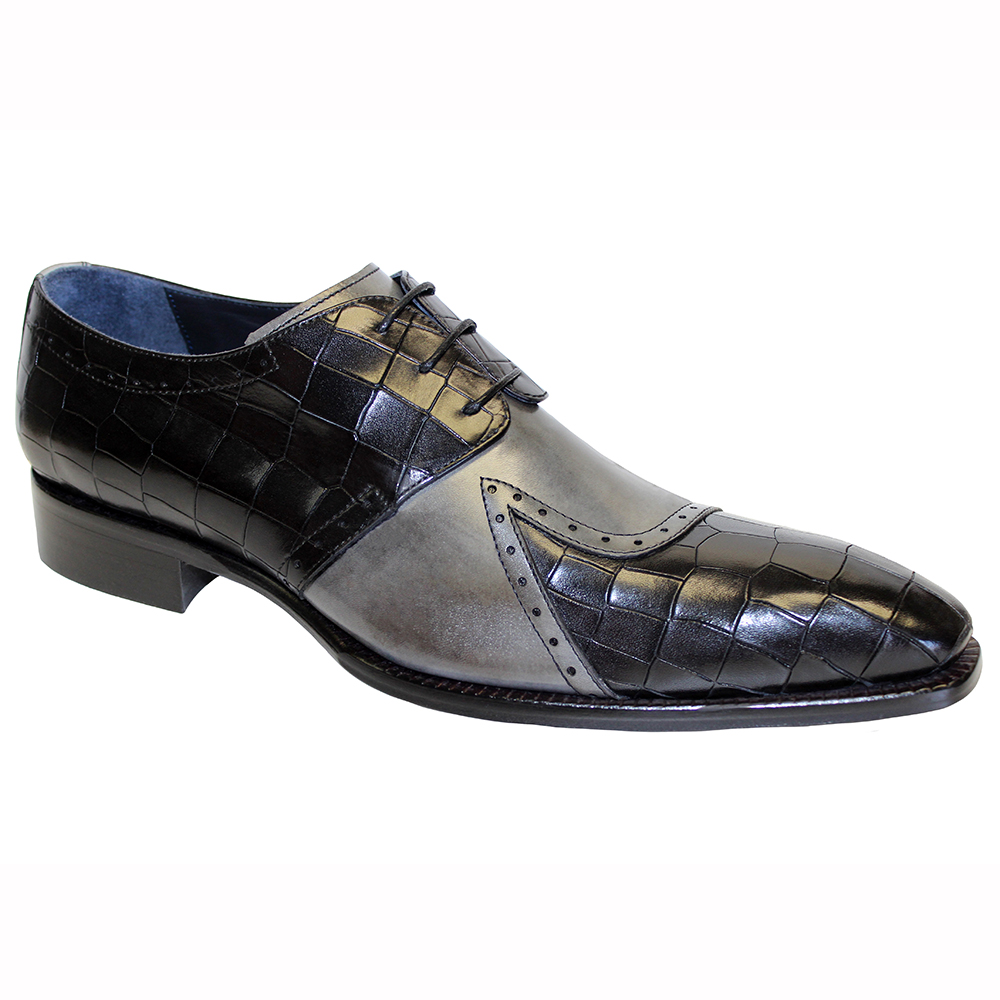 Duca by Matiste Valentano Croc Print & Leather Shoes Black / Grey Image