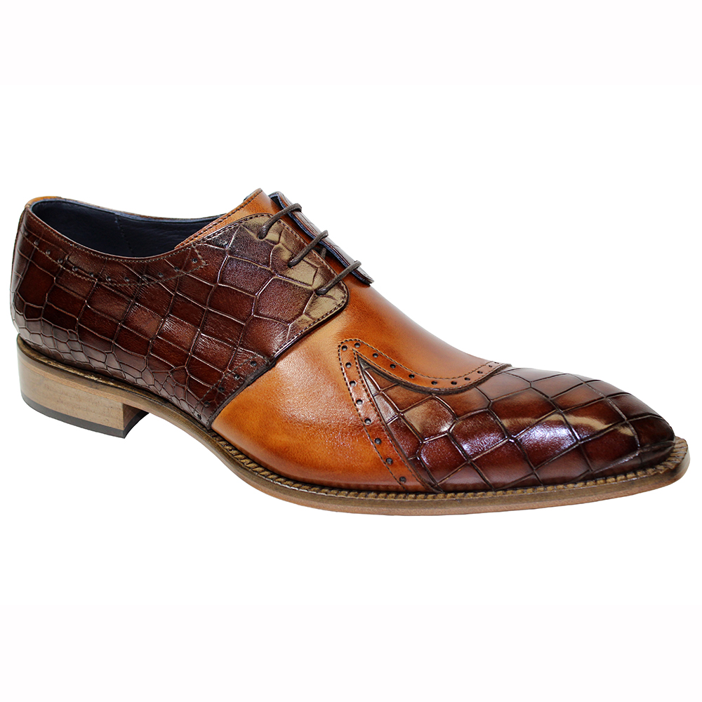 Duca by Matiste Valentano Croc Print & Leather Shoes Brown / Cognac Image