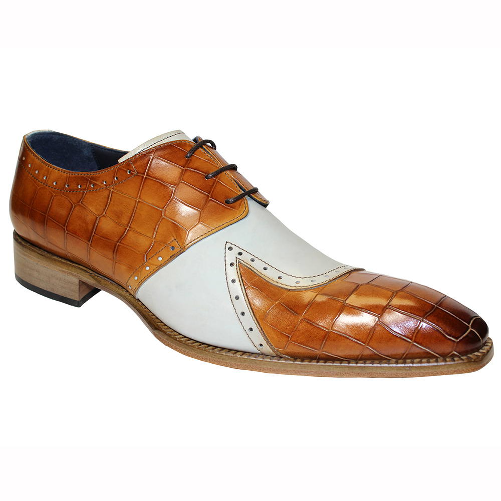 Duca by Matiste Valentano Croc Print & Leather Shoes Cognac / Bone Image