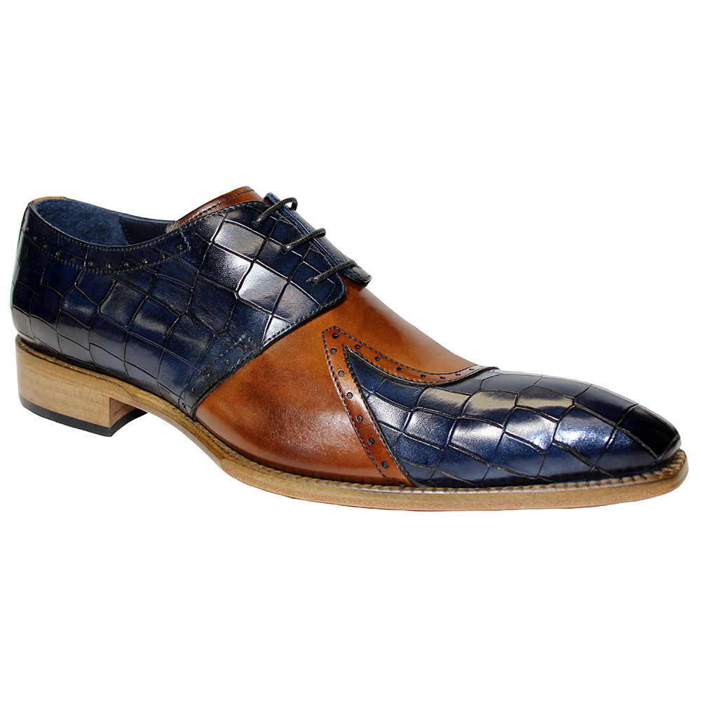 Duca by Matiste Valentano Croc Print & Leather Shoes Navy / Brandy Image
