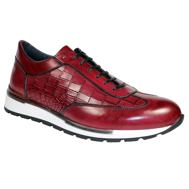 Duca by Matiste Varsi Calfskin Croc Print Sneakers Antique Red Image
