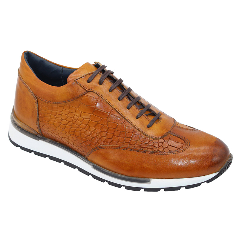 Duca by Matiste Varsi Calfskin Croc Print Sneakers Cognac Image