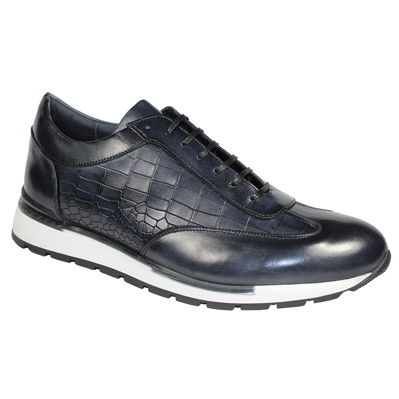 Duca by Matiste Varsi Calfskin Croc Print Sneakers Dark Grey Image