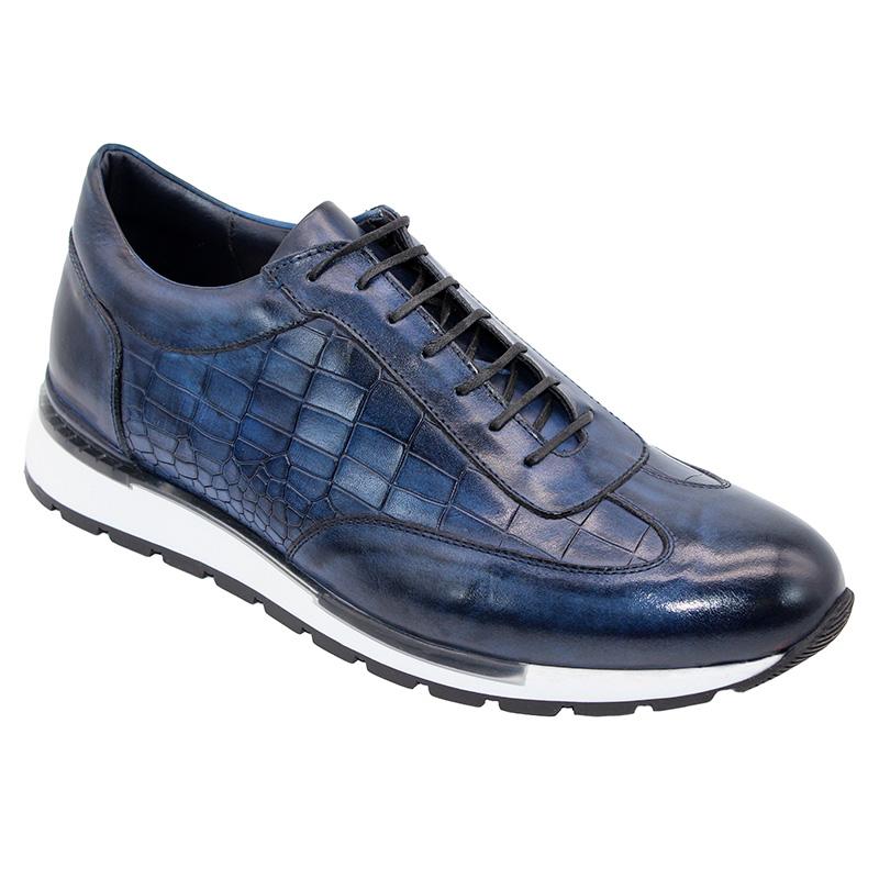 Duca by Matiste Varsi Calfskin Croc Print Sneakers Navy Image