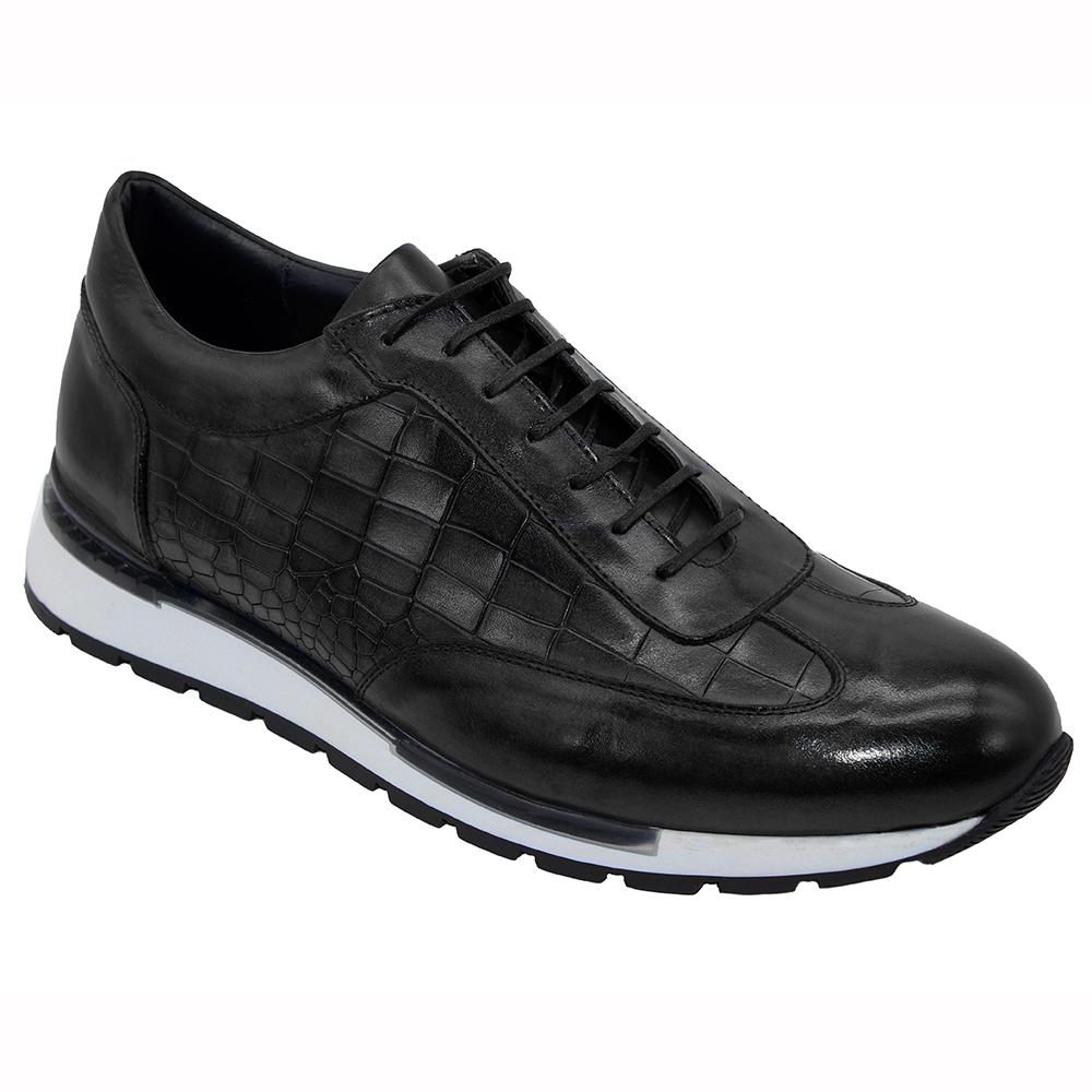 Duca by Matiste Varsi Leather & Croc Print Sneakers Black Image