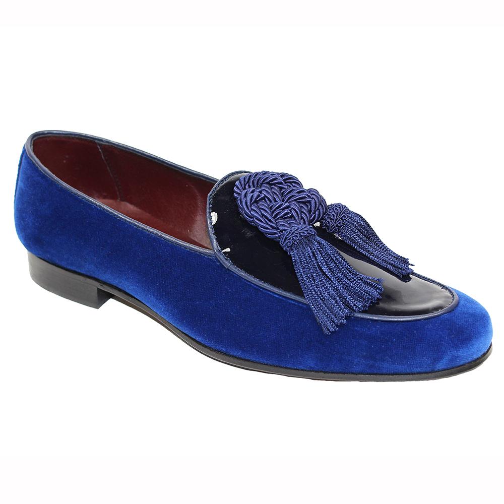 Duca by Matiste Venezia Patent & Velvet Shoes Blue Image