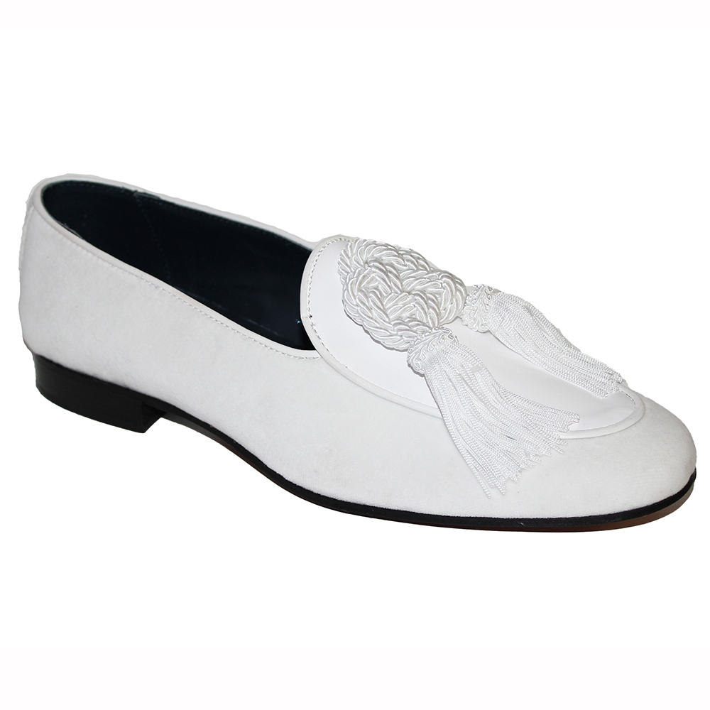 Duca by Matiste Venezia Patent & Velvet Shoes White Image