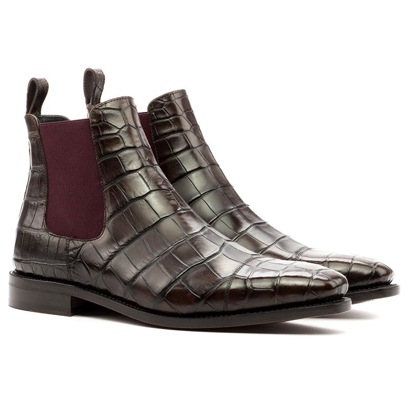 Emanuele Sempre Chelsea Boot Classic Alligator Boots Dark Brown Image