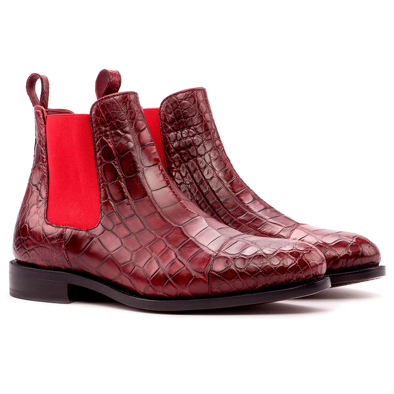 Emanuele Sempre Chelsea Boot Classic Alligator Shoes Red Image