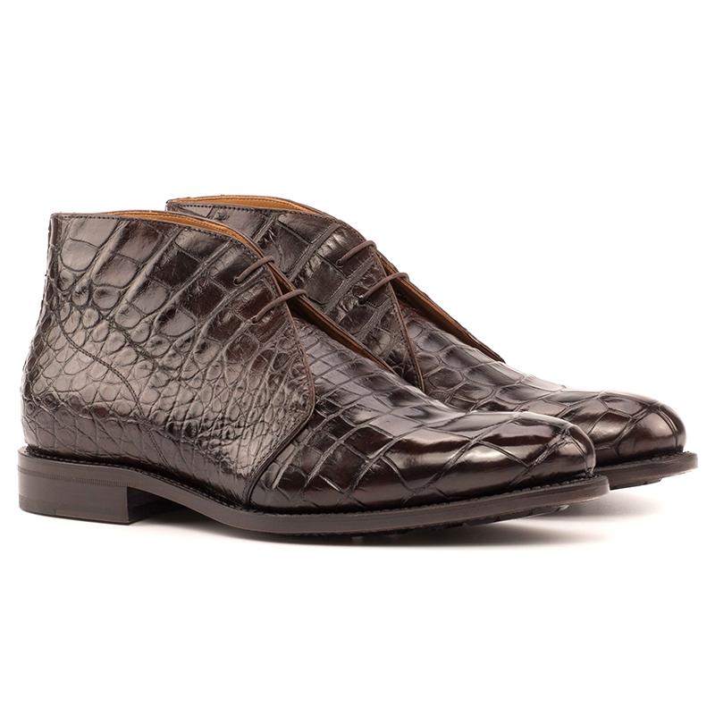 Emanuele Sempre Chukka Alligator Boots Dark Brown Image