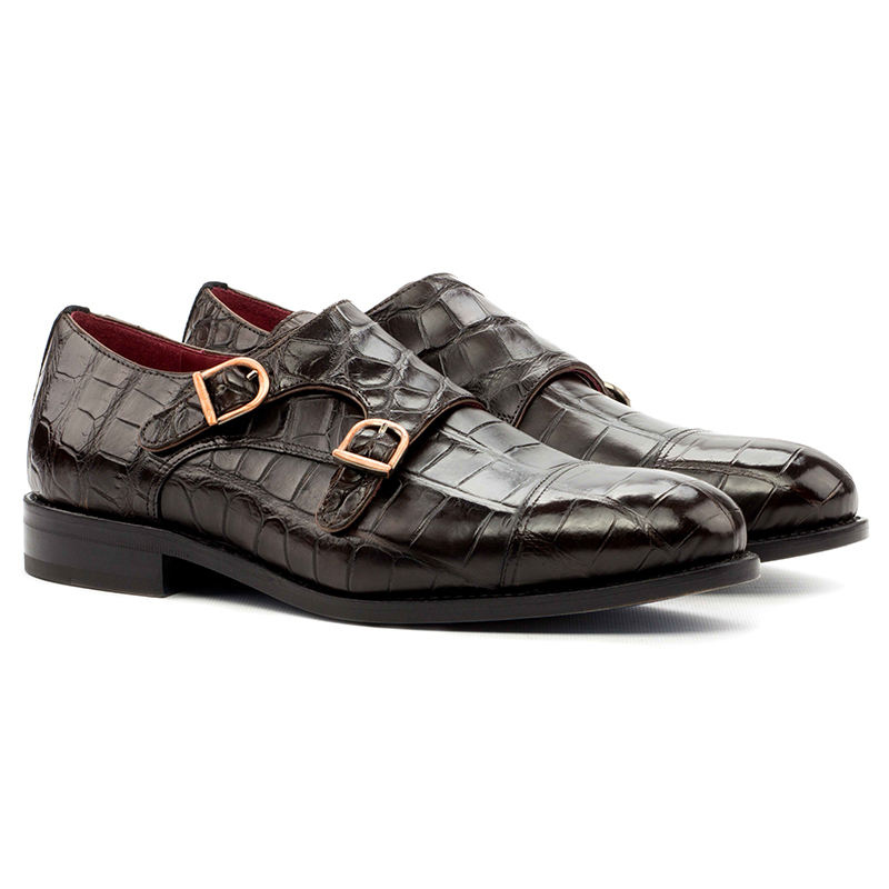 Emanuele Sempre Double Monk Alligator Shoes Black/Dark Brown Image