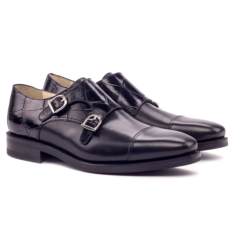Emanuele Sempre Double Monk Alligator Shoes Black Image