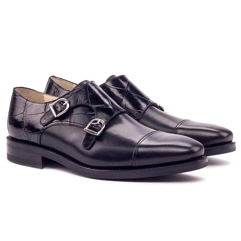 Emanuele Sempre Double Monk Alligator Shoes Black Image