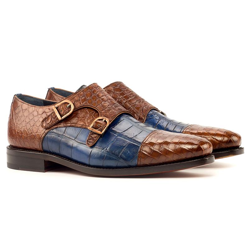 Emanuele Sempre Double Monk Alligator Shoes Navy/Med Brown Image