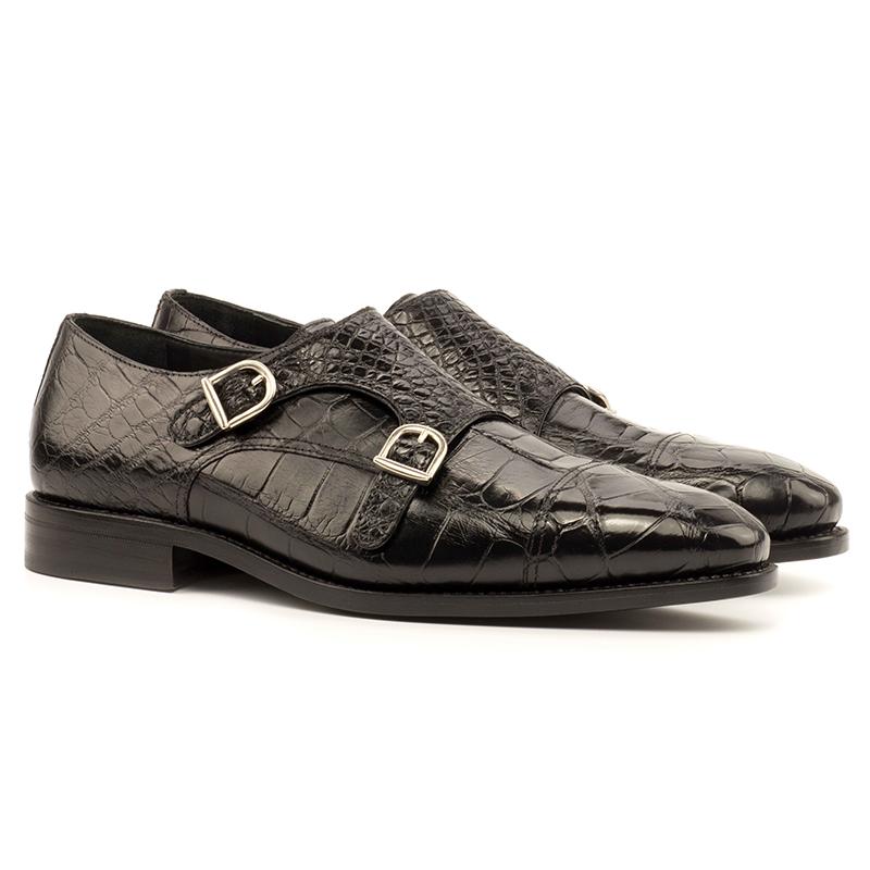 Emanuele Sempre Double Monk Exotic Alligator Shoes Black Image