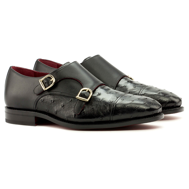 Emanuele Sempre Double Monk Ostrich Shoes Black Image