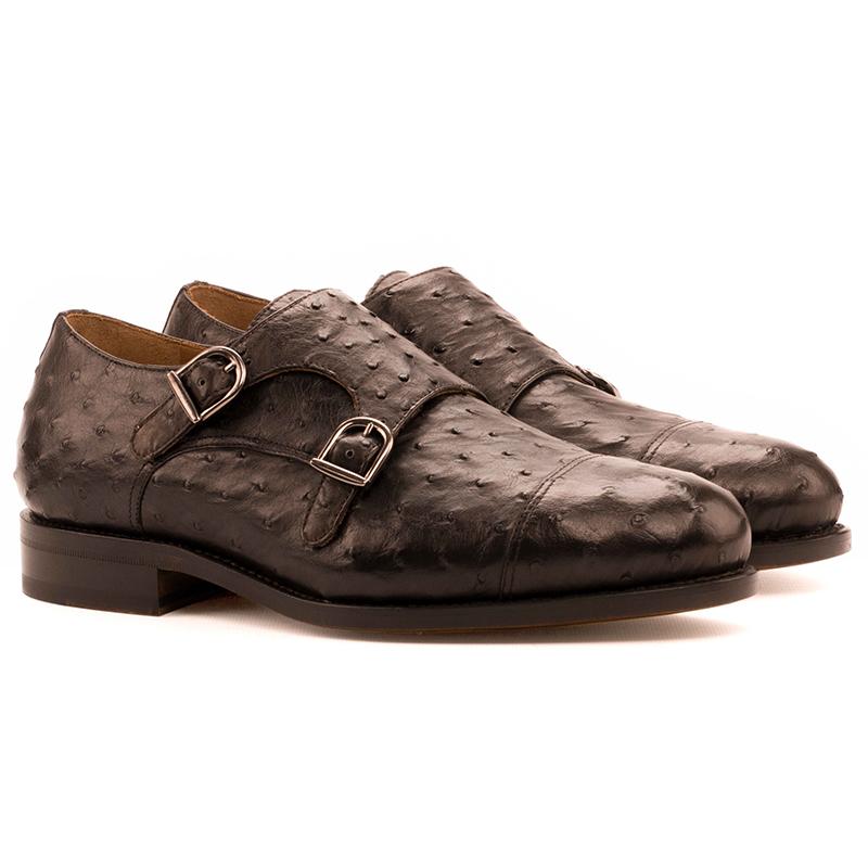 Emanuele Sempre Double Monk Ostrich Shoes Dark Brown Image