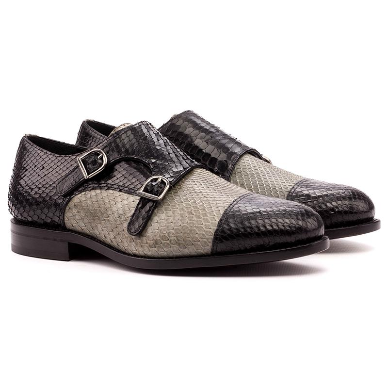 Emanuele Sempre Double Monk Python Shoes Black/Grey Image