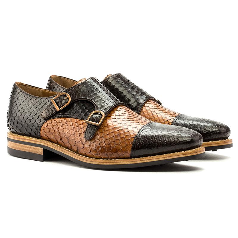 Emanuele Sempre Double Monk Python Shoes Cognac/Dark Brown Image