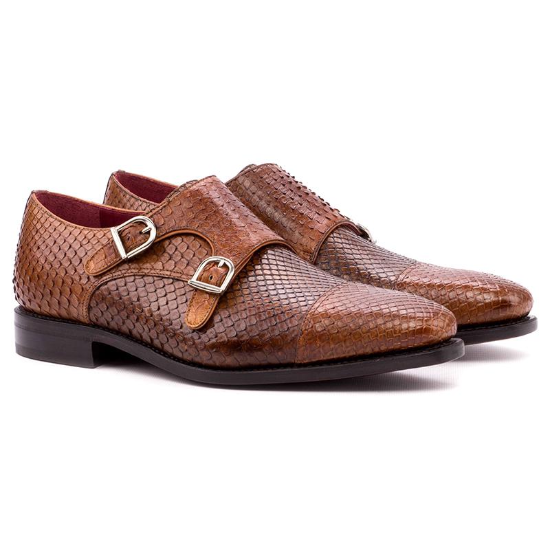 Emanuele Sempre Double Monk Python Shoes Cognac/Med Brown Image