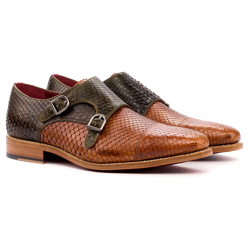 Emanuele Sempre Double Monk Python Shoes Cognac/Olive Image
