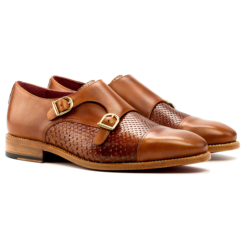 Emanuele Sempre Double Monk Python Shoes Cognac/Red Image
