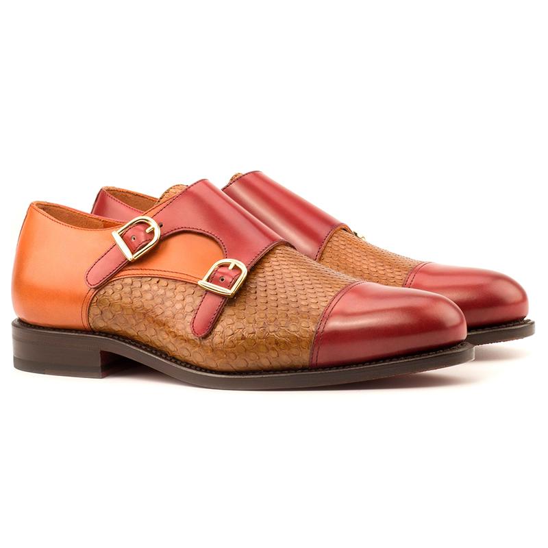 Emanuele Sempre Double Monk Python Shoes Cognac Image
