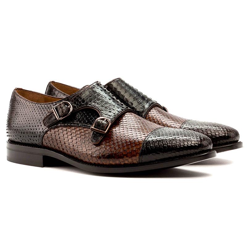 Emanuele Sempre Double Monk Python Shoes Dark Brown/Med Brown Image