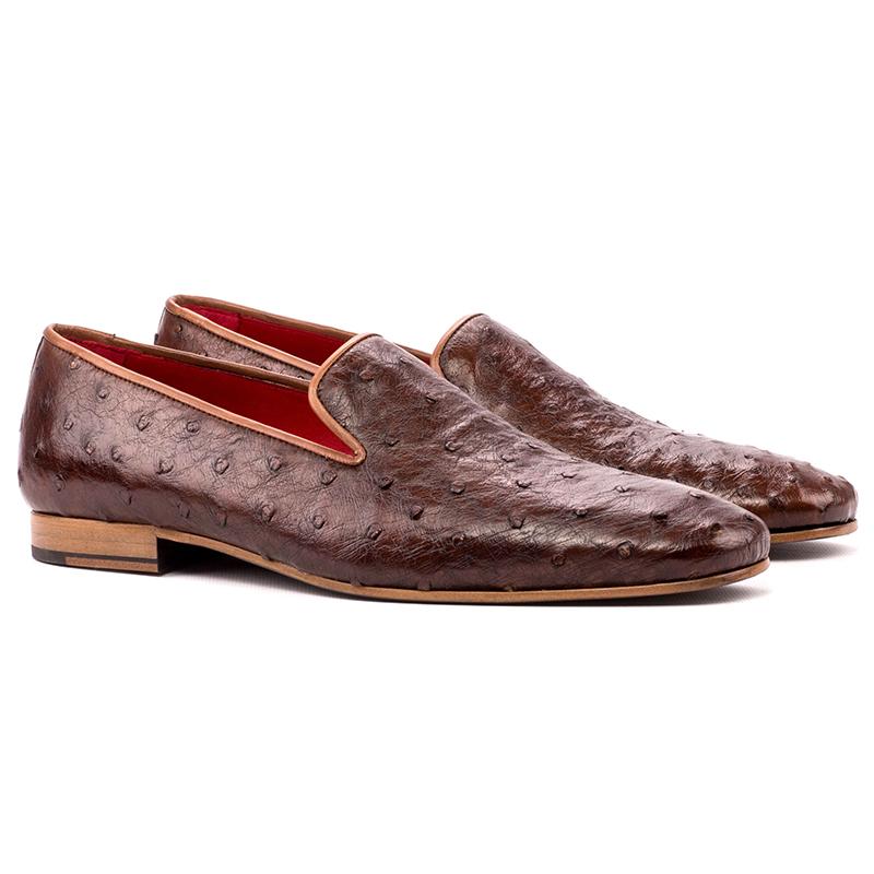 Emanuele Sempre Drake Ostrich Shoes Med Brown Image