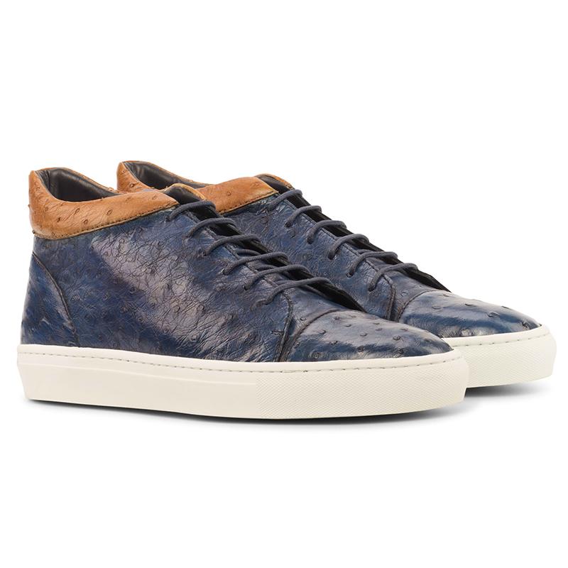Emanuele Sempre High Top Ostrich Sneakers Navy/Cognac Image