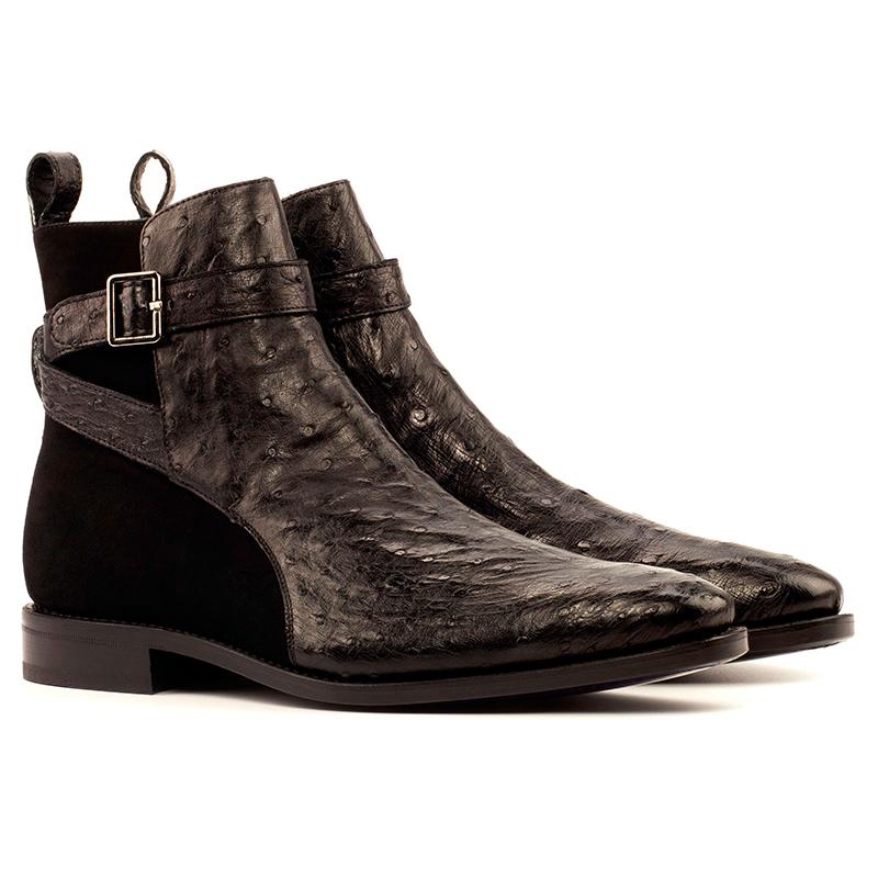 Emanuele Sempre Jodhpur Ostrich Boots Black Image