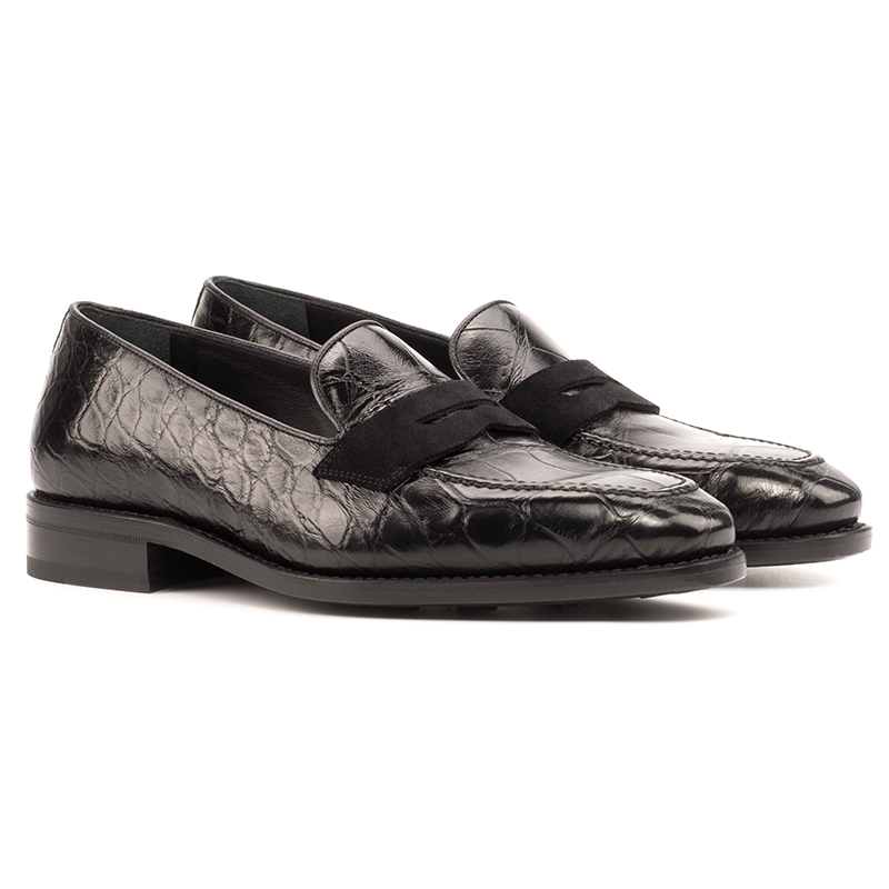 Emanuele Sempre Loafer Alligator Shoes Black Image