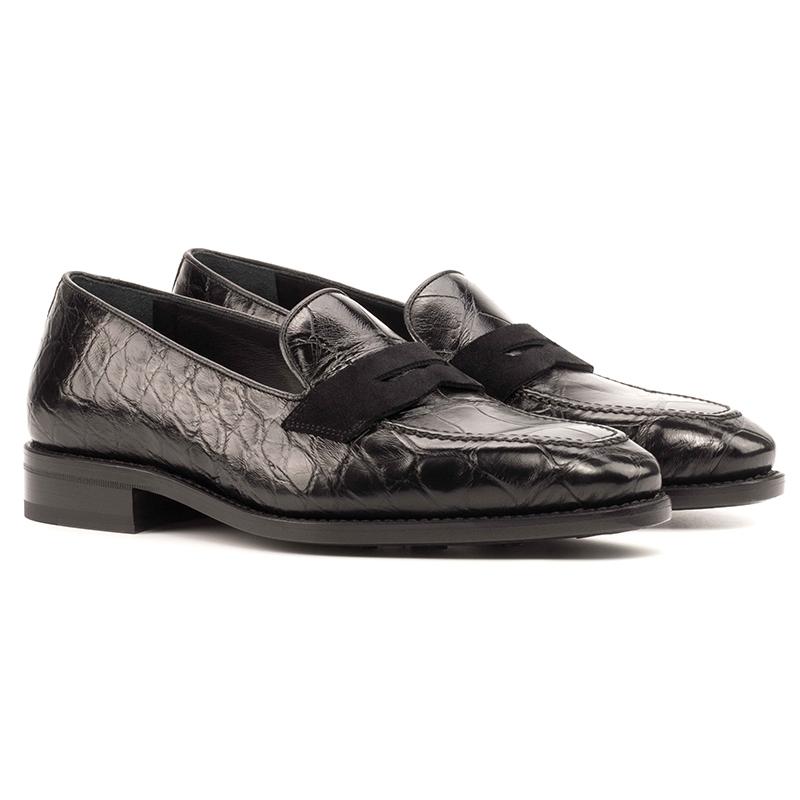 Emanuele Sempre Loafer Alligator Shoes Black Image