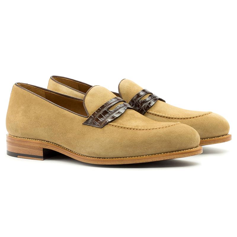 Emanuele Sempre Loafer Alligator Shoes Dark Brown/Camel Image