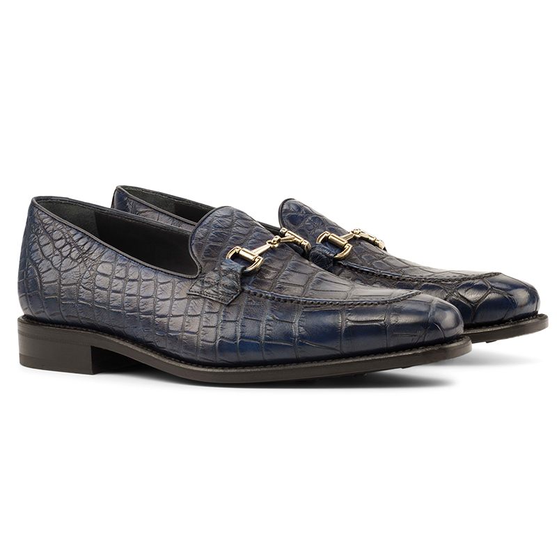 Emanuele Sempre Alligator Bit Loafers Navy Image