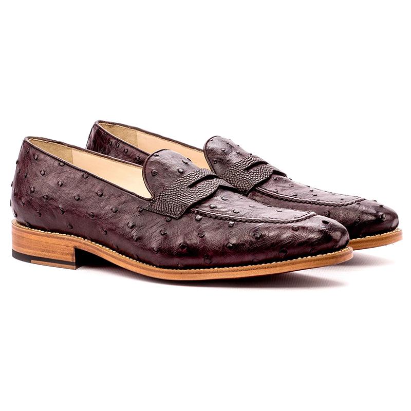 Emanuele Sempre Loafer Ostrich Shoes Burgundy/Dark Brown Image