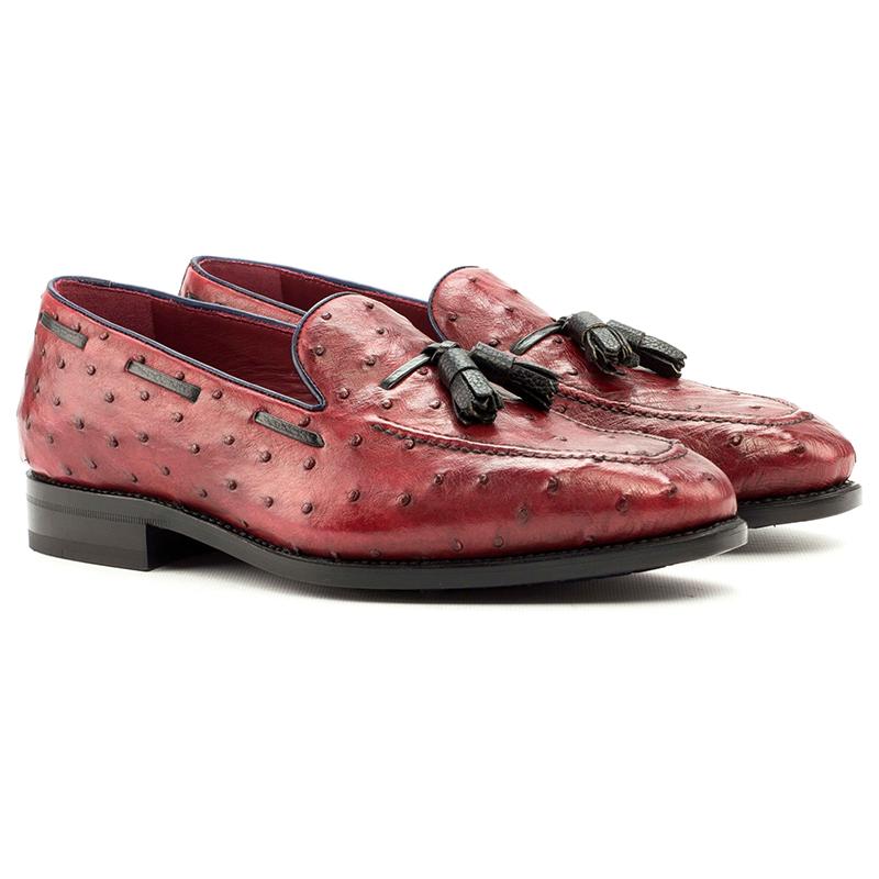Emanuele Sempre Ostrich Tassel Loafers Red/Black Image