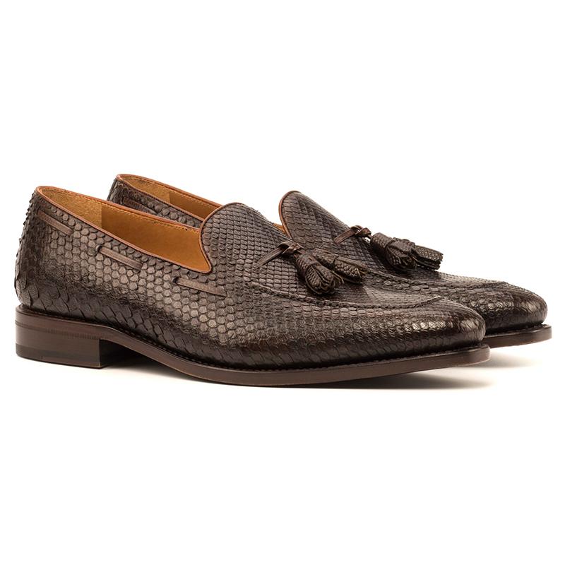 Emanuele Sempre Python Tassel Loafers Dark Brown/Med Brown Image