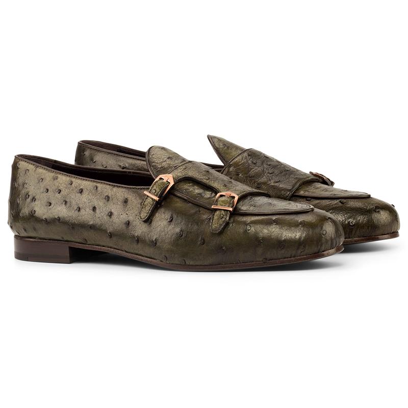 Emanuele Sempre Monk Slipper Ostrich Shoes Olive/Dark Brown Image