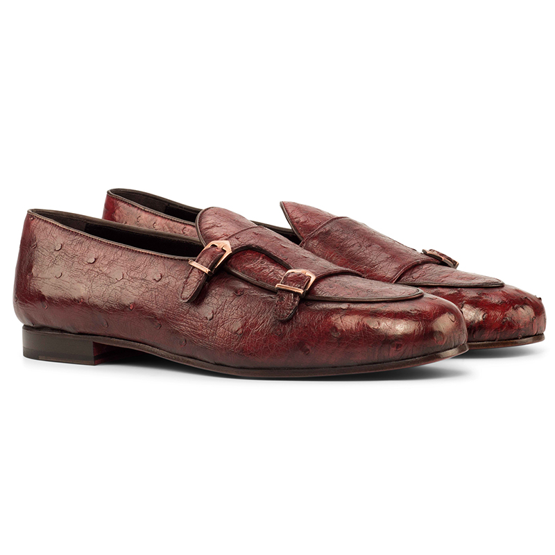 Emanuele Sempre Monk Slipper Ostrich Shoes Red Image